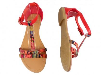 Czerwone sandały damskie płaskie buty letnie