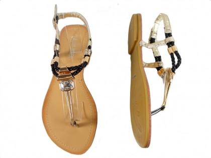Czarno złote sandały damskie japonki buty płaskie