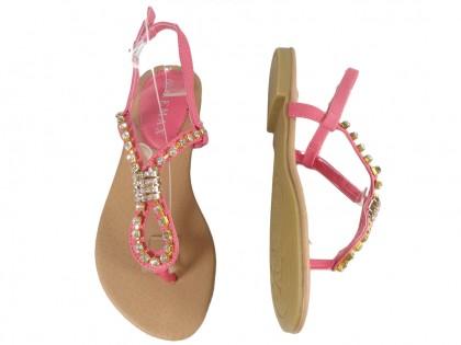 Różowe sandały damskie z cyrkoniami buty płaskie