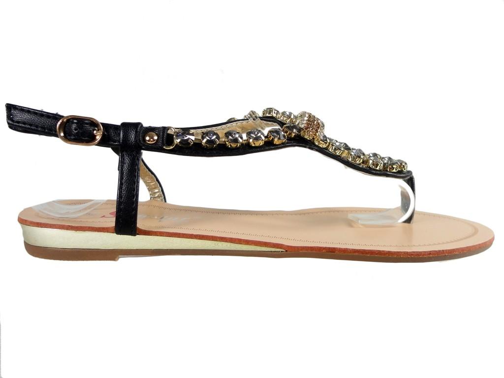 Black women's flat sandals with zirconia boots - 1