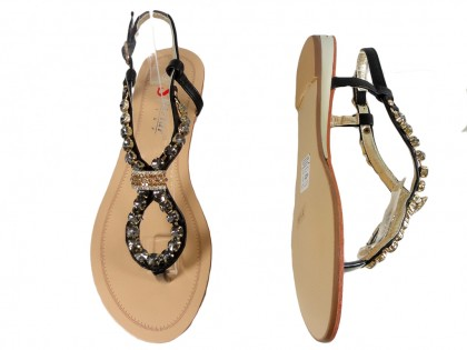 Czarne płaskie sandały damskie z cyrkoniami buty