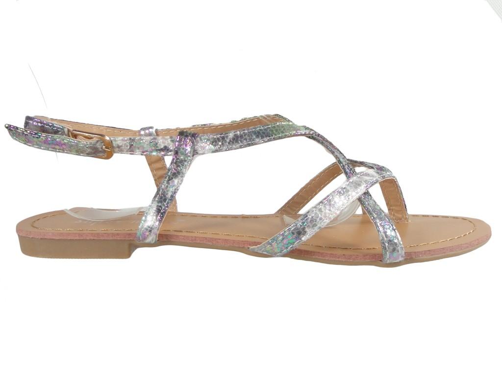 Silver glossy women's sandals flat flip flops - 3