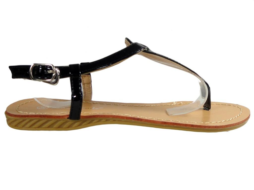 Black ladies sandals flip flops eco leather - 1