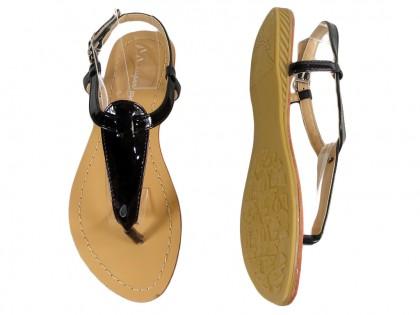 Czarne sandały damskie japonki eko skóra