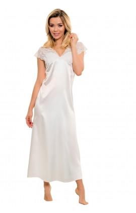 Satynowa ecru długa koszulka nocna bielizna damska