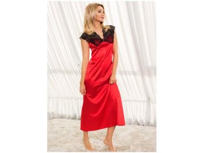 Rote Satin Nachthemd Damenunterwäsche - 2