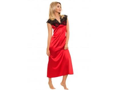 Red satin nightgown ladies' underwear - 1