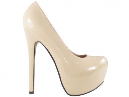 High heels boots beige pins on the platform - 1