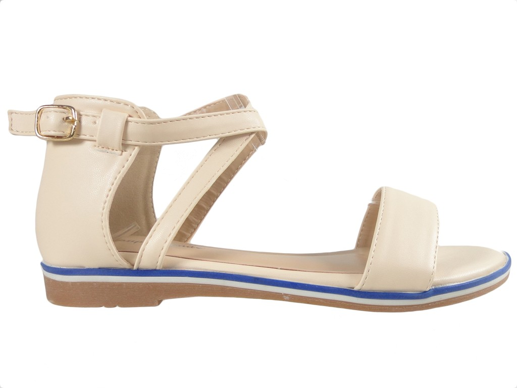 Beige women's ankle strap sandals flat - 1