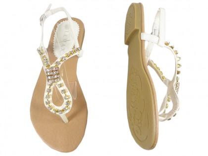 Białe sandały z cyrkoniami płaskie buty damskie