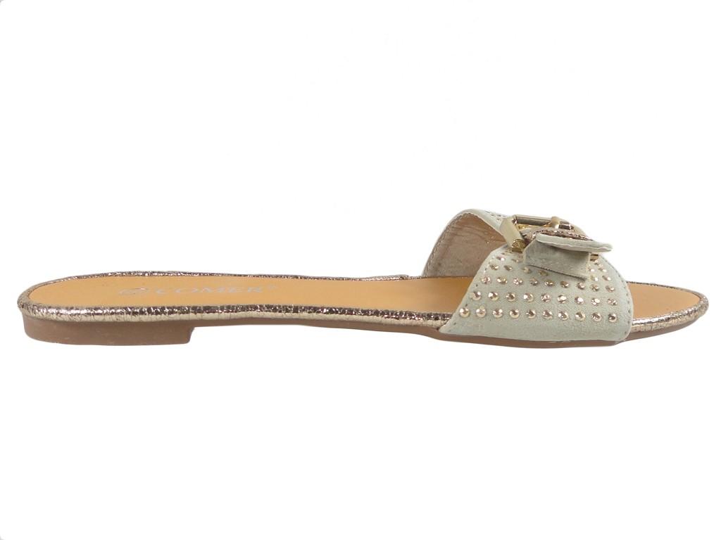 Beige flat flip-flops for women with studs - 1