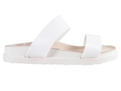 Weiße Gummi-Flip-Flops mit flachen Streifen - 1
