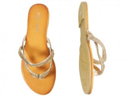 Flache goldene Flip-Flops mit Zirkon-Flip-Flops - 2