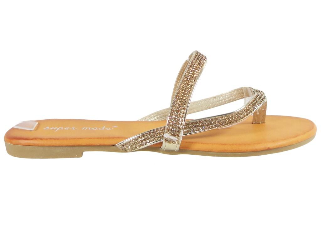 Flat gold flip flops with zirconia flip flops - 1