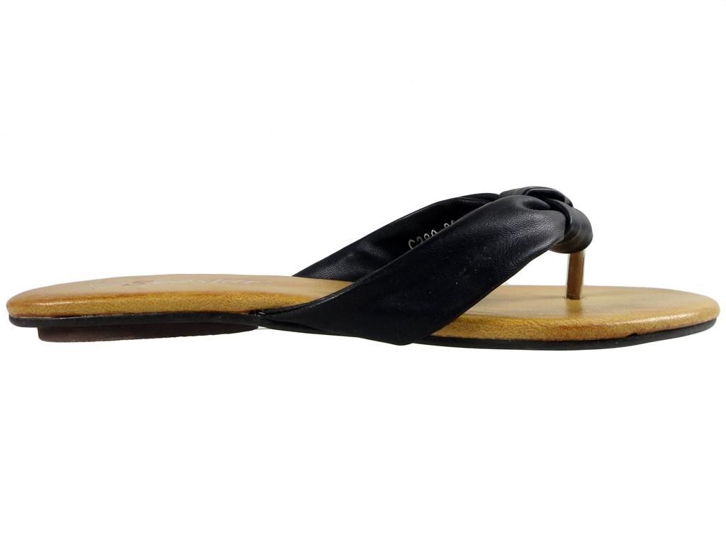 Black ladies' flip flops eco leather - 1