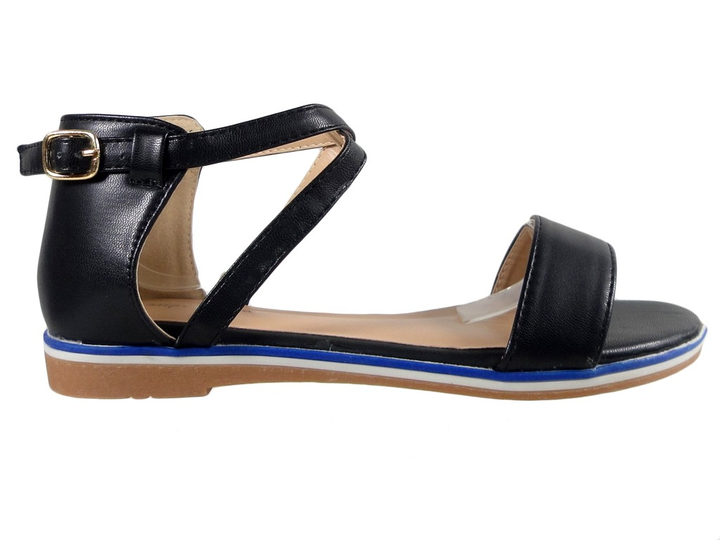 Black women's ankle strap sandals flat - 1