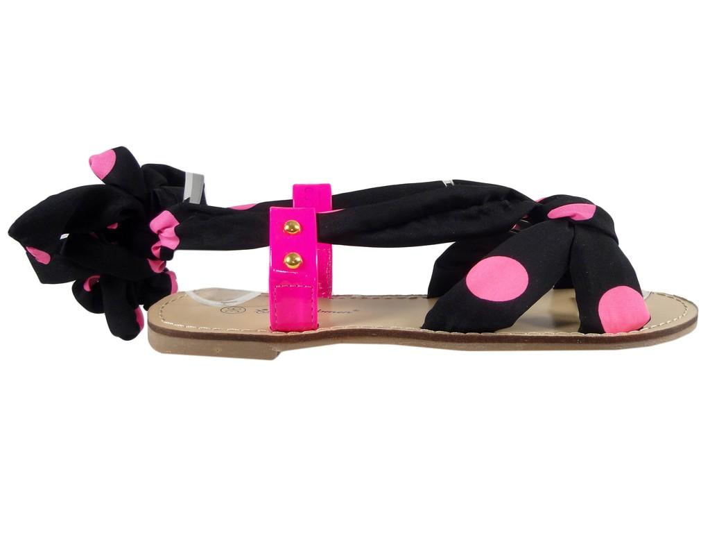 Czarno różowe sandały damskie z wstążką