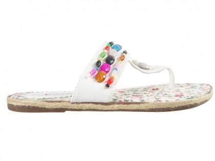 Weiße Flip Flops flache leichte Sommerschuhe - 1