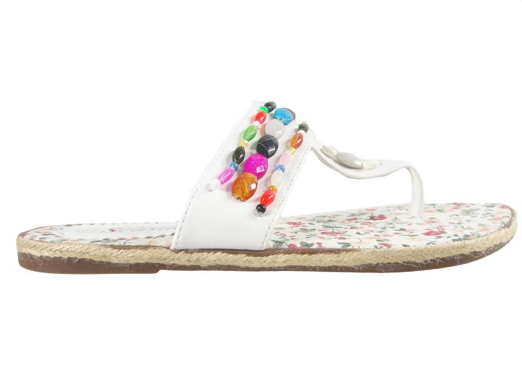 White flip-flops flat shoes light summer boots - 1
