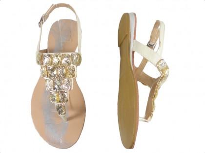 Białe sandały damskie z cyrkoniami płaskie buty