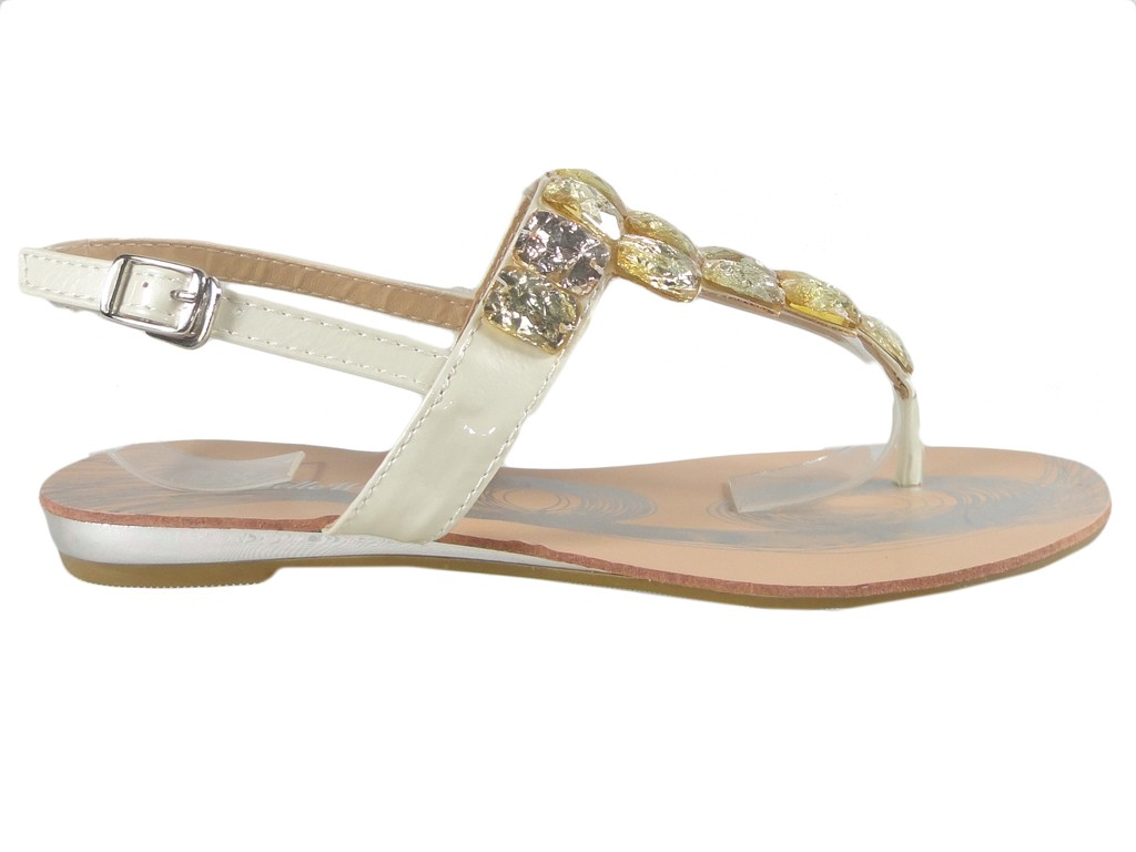 White women's zirconia sandals flat boots - 1
