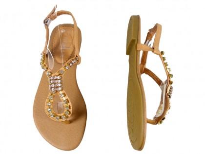 Beżowe sandały z cyrkoniami płaskie buty damskie