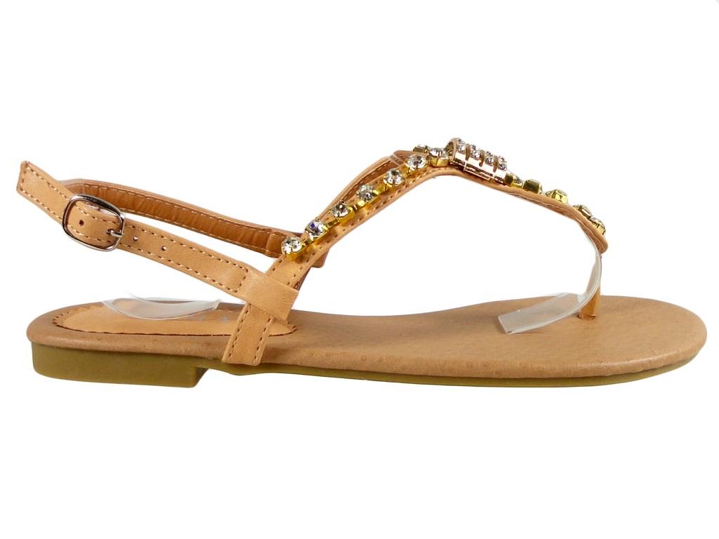 Beige Sandalen mit Zirkons flache Damenschuhe - 1