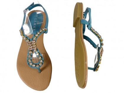Niebieskie sandały z cyrkoniami płaskie buty damskie