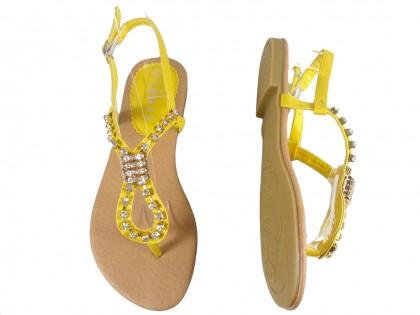 Żółte sandały z cyrkoniami płaskie buty damskie