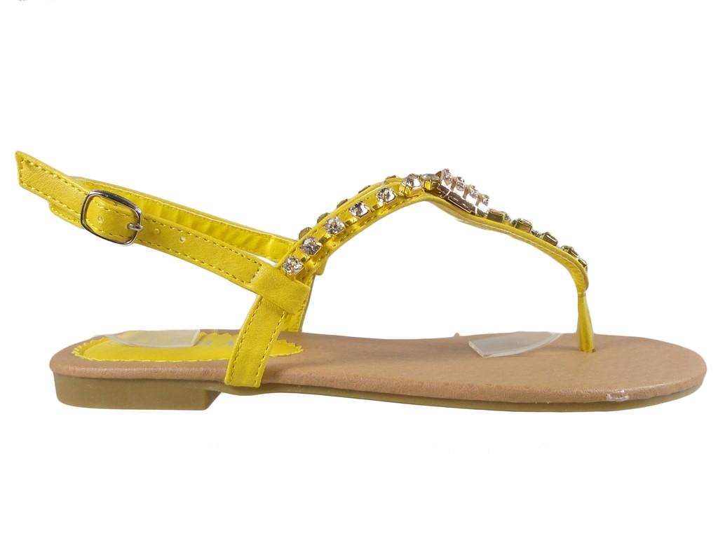 Yellow zirconia sandals flat women's shoes - 1
