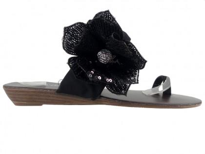 Schwarze flache Flip-Flops für Damen - 1