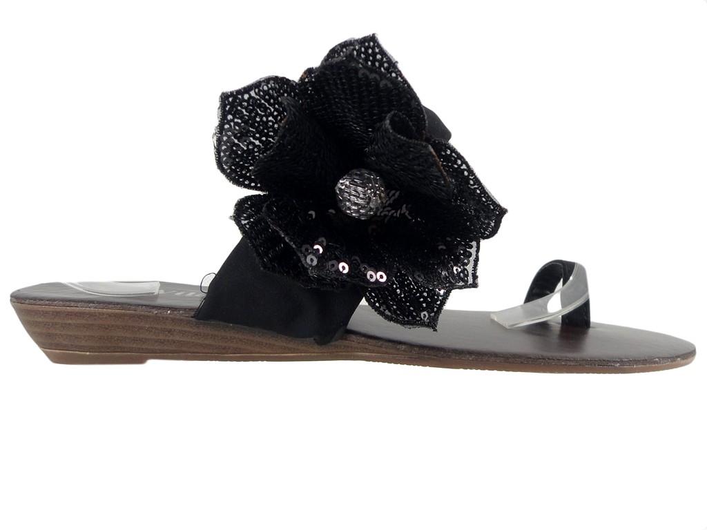 Czarne klapki damskie płaskie buty japonki