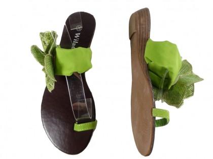 Zielone klapki damskie płaskie buty japonki
