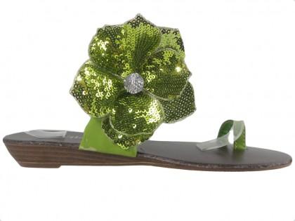 Grüne flache Flip-Flops für Damenschuhe - 1