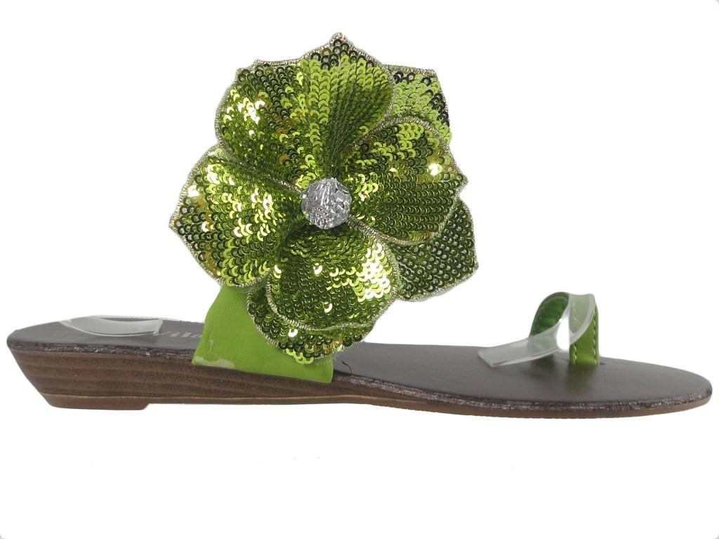 Green ladies' flip-flops flat shoes - 1