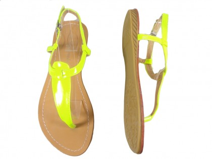 Żółte neonowe sandały damskie japonki eko skóra