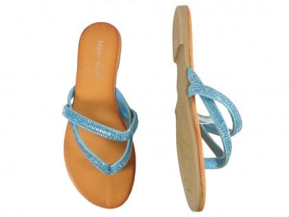 Flache blaue Flip-Flops mit Zirkon-Flip-Flops - 2