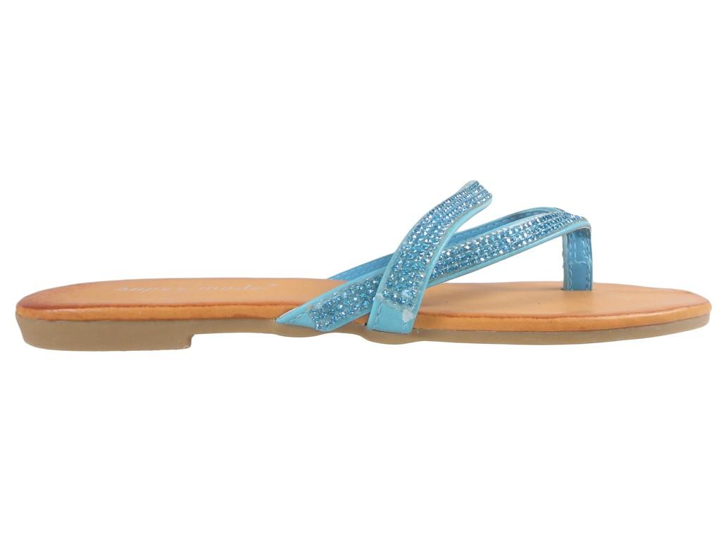Płaskie niebieskie klapki z cyrkoniami klapki japonki