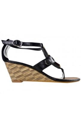 Czarne sandały damskie eko skóra koturna
