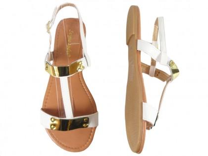 Białe sandały damskie płaskie buty