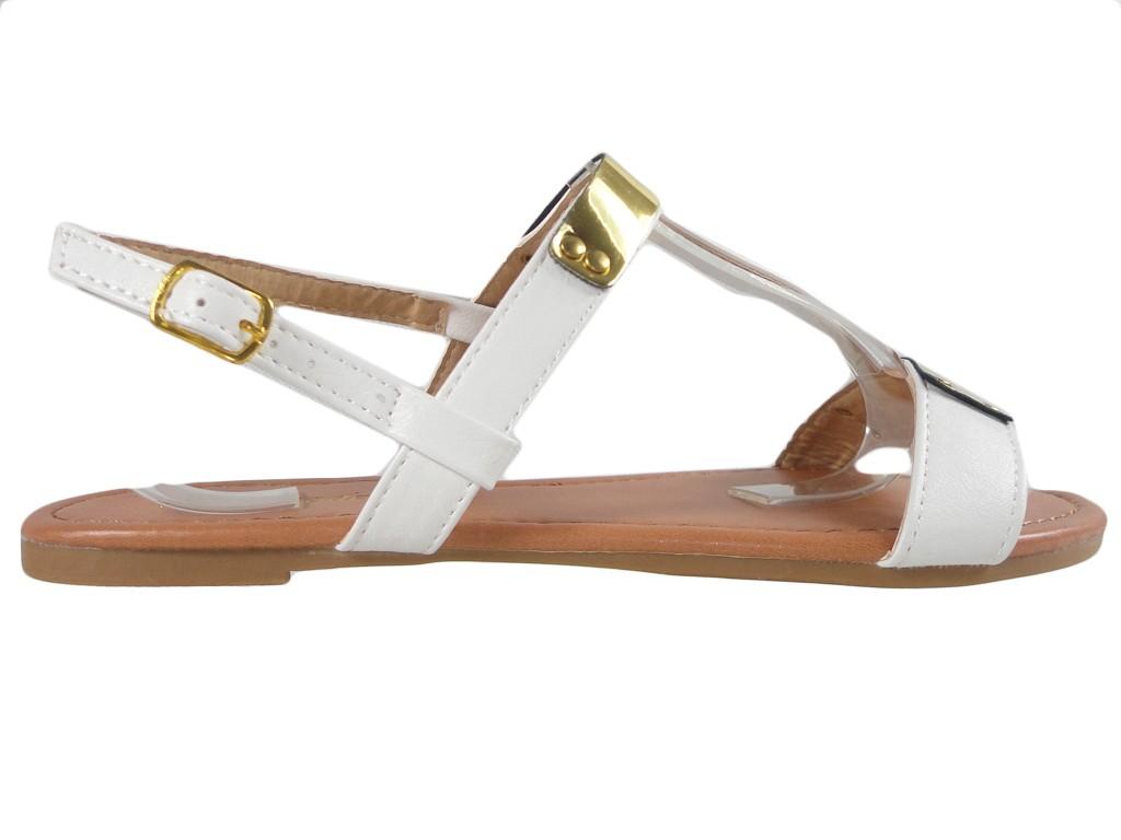 White women's sandals flat boots - 1