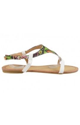 Białe sandały damskie płaskie buty japonki