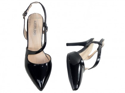 Czarne szpilki buty damskie z wycięciem