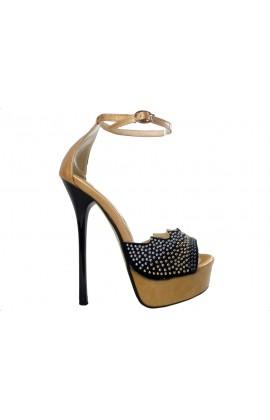 Złote szpilki na platformie sandały damskie