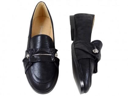Schwarze Slipper flache Damenschuhe - 2