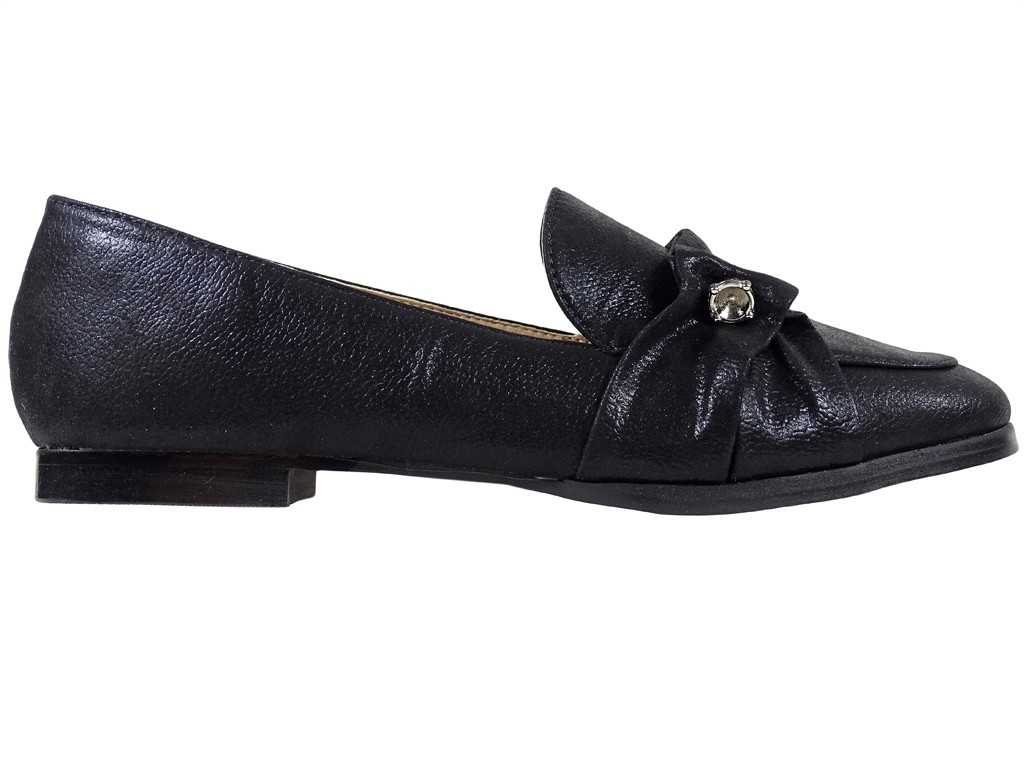 Black moccasins flat women's shoes - 1