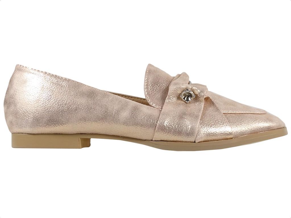Gold flache Schuhe Mokassins für Frauen Öko-Leder - 1