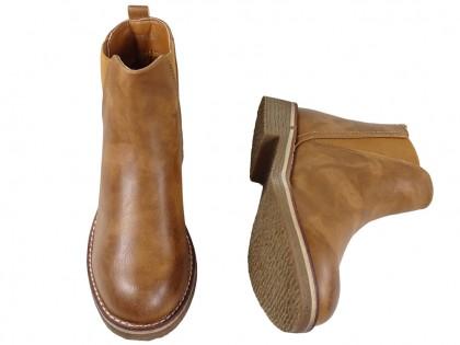 Buty damskie skórzane płaskie brązowe botki