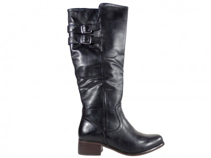 Black ladies' flat boots comfortable in leather - 1