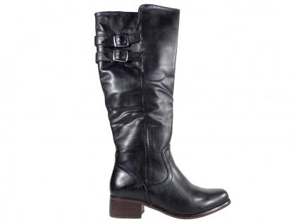 Fekete, kényelmes női bőr csizma - 1